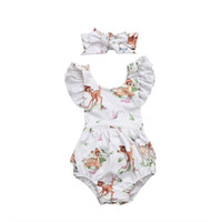 Wholesale lovely girl wholesale - New Romper Deers Headband Lovely Cartoon Printed Jumpsuit Infant Baby Girls Ruffle Sleeve Hairband Outfit 0-18M