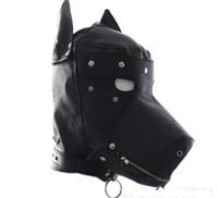 Wholesale leather gimp masks - 30pcs Masquerade Mask Leather Gimp Dog Puppy Hood Full Mask Mouth Gag Costume Party Mask Zipped Muzzel Cosplay C159