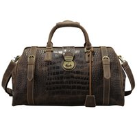 старинные дорожные сумки мужские оптовых-Tiding  Crocodile Cow Leather Mens Travel Bags Vintage Weekender Bag Travel Totes Zipper Duffle Bag Travelling Luggage New