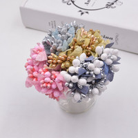 Wholesale Wedding Car Decorations Supplies - 100pcs  Piece Mini Artificial Stamen Bud Bouquet Leaf Flower For Home Garden Wedding Car Corsage Decoration Box Crafts Supplies