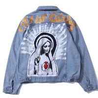 abrigo de la chaqueta de los hombres de jean moda al por mayor-2018 Hip Hop Virgen María Impreso Denim Chaqueta Hombres Casual Jean Streetwear Jeans Chaquetas Hombre Moda Otoño Abrigo