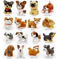 ingrosso mini figurine animali-16 Pz / set Kawaii In Resina Miniature Puppy Mini Cartoon Cani Figurine Ornamenti Animali Decorazione Della Tavola Home Decor Garden Ornament