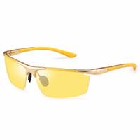 óculos de sol polarizados amarelos antiofuscantes venda por atacado-SOXICK Marca Night Vision Driving Sunglasses Lente Amarela Clássico Anti Glare Segurança Esporte Polarized Óculos De Sol Oculos Óculos De Sol