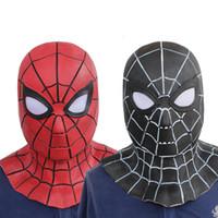 capacete integral preto vermelho venda por atacado-Vingadores Homem-Aranha Adulto Látex Vermelho / Preto Cosplay Homem Aranha Máscaras Máscaras de Festa de Dia Das Bruxas Capacete de Rosto Cheio Cos