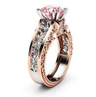 Pink sapphire CZ Croix Bague De Mariage Hommes//Femmes 10KT Yellow Gold Filled Taille 8