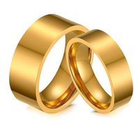 Wedding Ring 8mm 6mm plain gold color 316L stainless steel Wedding Ring for Women Men comfort fit couple ring hot sale in USA and Europe