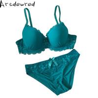 Wholesale c panties - Lady Lace Black Push Up Bra Set Top B C Cups sujetador encaje Underwear Women Lingerie Sexy Panties And Bra Sets 6 Colors
