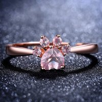 Wholesale kid rings adjustable - Rose Gold Crystal Dog Paw Ring Adjustable Rings Diamond Fashion Jewelry for Women Kids Gift Drop Ship 080307