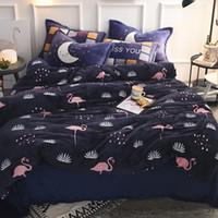 ingrosso piante da letto blu-Deep Blue Copripiumino Set Piante e Flamingo Bedding Sets Copripiumino Flanella morbido e accogliente Copriletto Confortevole Federa