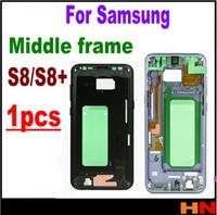 huawei p8 kamera toptan satış-Samsung Galaxy S8 G9550 G9500 S8 S8 + G9550 Için orta Orta Plaka Çerçeve Ön LCD Destekleyen Konut Şasi Çerçeve çerçeve