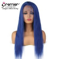 Wholesale top lady human hair wigs resale online - Premier Top A Full Lace Human Hair Wigs Silky Straight Brazilian Virgin Hair Blue Lace Wigs