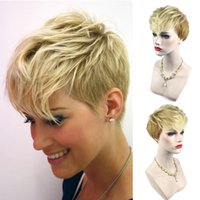 Wholesale celebrity wig resale online - High quality Populay Capless Heat Resistant New Stylish Short Blonde natural wave Synthetic Hair Wig Wigs Party Wig Celebrity Wigs