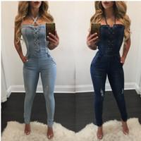 xl kadın tulumları kot toptan satış-Toptan-2019 yeni moda seksi yaz bandaj Kadınlar Moda Denim Jeans BIB Pantolon Tulumları Sapanlar Tulum Tulum Pantolon