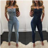 sexy jeans overalls großhandel-Wholesale-2019 neue Mode sexy Sommer Verband Frauen Mode Denim Jeans BIB Hosen Overalls Straps Overall Strampler Hosen