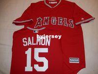 "Wholesale 4xl tall - Cheap custom MAJESTIC Anaheim #15 TIM SALMON ""COOL BASE"" Baseball JERSEY Red Mens stitched jerseys Big And Tall SIZE XS-6XL For sale"