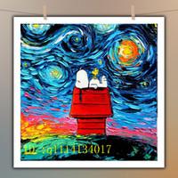 pinturas a óleo venda por atacado-Snoopy Da Arte Da Lona de Van Gogh, HD Cópias Da Lona de Arte Pintura A Óleo Da Parede Home Decor / (Sem Moldura / Emoldurado)