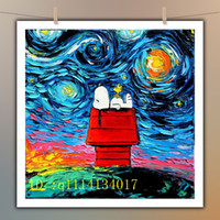 cartoon-ölgemälde leinwand großhandel-Van Gogh Snoopy Kunst Leinwand, HD Leinwand Wandkunst Ölgemälde Wohnkultur
