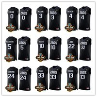 Cheap personalizada Gonzaga Bulldogs negro NCAA baloncesto final Four Patch Jersey 3 Johnathan Williams 4 Mathews 10 Bryan Alberts 22 Jeremy Jones