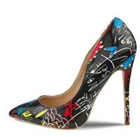 saltos de sapatos graffiti venda por atacado-Frete grátis lBottom Specia Graffiti Colorido Mulheres Bombas Sexy Stiletto de salto alto Primavera Festa de Casamento Das Mulheres Sapatos femininos sapato feminino