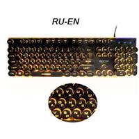 ingrosso pannello luminoso-Gaming Russian Keyboard Retro Round Incandescente Keycap Pannello in metallo retroilluminato USB Wired Metal Panel bordo illuminato