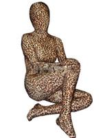 leopard lycra passt großhandel-Ganzkörper Leopard Unisex Lycra Spandex Zentai Anzug S-XXL
