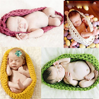 Wholesale new born photography props resale online - New Arrival Newborn Crochet Baby Costume Photography Props Knitting Baby Hat Infant Photo Props New Born Boy Girl Cute Outfits