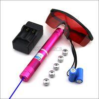lazer işaretçi piller toptan satış-RBX4-F5 450nm KıRMıZı Ayarlanabilir odak Piller ŞarjGoggles ile Mavi lazer pointer