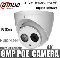 kamera sd ir ip toptan satış-Dahua 8MP POE IP Kamera IPC-HDW4830EM-AS OEM İngilizce Firmware 4mm lens IR 50 m Güvenlik Kamera Dahili Mikrofon Desteği SD Kart