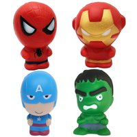 Wholesale america gift - Slow Rebound Squishy Toys Cartoon Spiderman Iron Man Captain America Hulk 11CM Kawaii Squishies Squeeze Decompression Toy Gifts