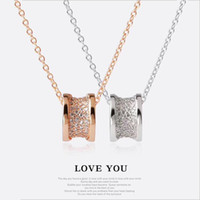 Wholesale rose gold plated fashion necklace for sale - Luxury fashion Diamond Crysatal Pendants Necklaces Rose Gold Silver Color Stainless Steel Women Brand colar Chain Necklaces Pendants