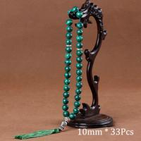 yeşil malakit kolye toptan satış-10mm Yeşil Malakit Taş Bilezikler Püskül Kolye 33 Namaz Boncuk Kadınlar Için İslami Müslüman Tasbih Mohammed Tesbih Erkekler