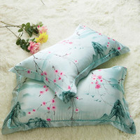 Wholesale bedding side for sale - Summer Silk Pillow Case Two Sided Ice Towel Plaid Printed Cushion Cover Spouse Lovers Bedding Supplies Home Decor ed bb