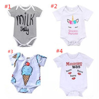 Wholesale toddler animal onesies - Newborn baby boy girl unicorn clothes summer romper onesies jumpsuit kids clothing boutique outfits letter striped 2018 babies toddler 0-24M
