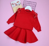 Wholesale kids knit red green sweater for sale - Group buy Autumn girls beaded round collar long sleeve knitting sweater pullover elastic skirt sets fashion new kids princess outfits Y5372