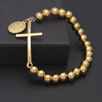 Wholesale 18k gold rosary - free shipping Classic Cross With Virgin Mary Bracelets 8mm Rosary Bead Stainless Steel Gold&Steel Color Religion Men Bangle Drop Shipping