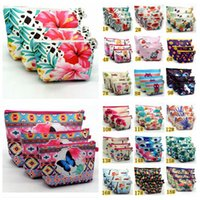 Wholesale key bag zipper online - 20styles Unicorn cartoon print cosmetic bag animal flamingo owl plant forest make up zipper bag Key earphone Holder Bag FFA882