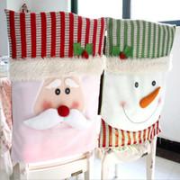 аксессуары для стульев оптовых-Красный нетканый Рождество Санта-Клаус стул охватывает украшения зеленый снеговик стул створки для отеля ресторан праздник стул охватывает аксессуары