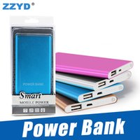 Wholesale Batteries For Phones - ZZYD Portable Ultra thin slim powerbank 4000mah charger power bank for S8 mobile phone Tablet PC External battery
