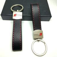 porte-clés bien achat en gros de-PU En Cuir Métal De Voiture Porte-clés Porte-clés Porte-clés Porte-clés Pour Audi Sline S Ligne A3 A4 A5 A6 S3 S4 S5 RS Q3 Q5 Q7 Bonne Qualité