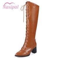 kahverengi dantelli çizmeler topukluyor toptan satış-Nasipal Kadınlar Motosiklet Boots Sivri Burun Tıknaz Topuk Binme Boots Ayakkabı Kadın Lace Up Diz Yüksek Siyah Kahverengi Boyutu 48