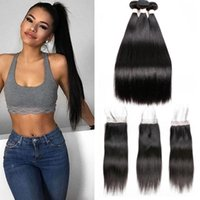 Wholesale wig bundles - Fairgreat Brazilian Straight Hair Human Hair Bundles with Closure 3 Bundles With Closure Natural Color Non Remy Hair Extension