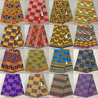 Wholesale Fancy Fabrics - Ankara style kitenge fancy wax African Kente Print Fabric Tribal African Cotton Print Fabric Kente Cloth