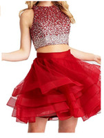 Wholesale ball skirt two piece online - Two Piece Homecoming Dresses Short Sexy Burgundy Open Back Prom Ball Gowns Jewel Neck Bling Beaded Bodice Ruffles Skirts