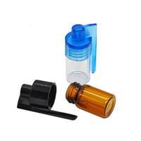jarras colheres venda por atacado-Vidro Acrílico Snuff Bala Foguete Snorter Colher De Vidro Pill Box Recipiente De Cera Jar fácil de transportar