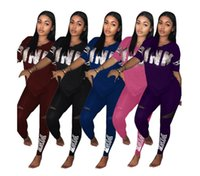Wholesale casual suits for ladies - Newest high quality Sweatshirt + Pants 2 Pieces Set Spring Women Lovely Love PINK Print flower Sporting Suits for Ladies Leisure Tracksuit