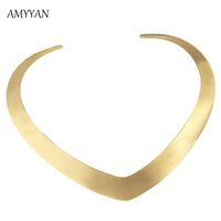 Wholesale v shape gold necklace - whole saleCollar Necklace V Shape Choker Necklace Gold Color Collares Jewelry Stainless Steel Torques Statement Fine Jewelry