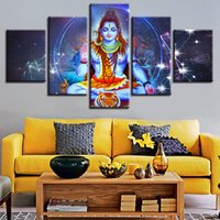 Discount religious art prints - Canvas Poster Modular HD Prints Wall Art 5 Pieces Indian Religious Buddha Portrait Shiva Lord Painting Home Decor Pictures Frame