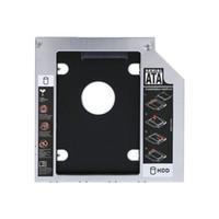 discos duros para laptops al por mayor-9.5 mm de aluminio SATA HDD SSD Gabinete Unidad de disco duro Bahía Caddy óptico Adaptador de DVD para computadora portátil con paquete al por menor Envío gratuito