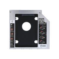 unidades ópticas portátiles al por mayor-Adaptador de DVD de la Bahía de unidad de disco duro SATA HDD SSD de aluminio de 9.5 mm Adaptador de DVD óptico para portátil con paquete al por menor Envío gratuito
