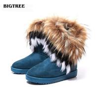 ingrosso scarpa da neve ispessente impermeabile-BIGTREE di alta qualità Faux Fur Snow Boots Donna Inverno Scarpe flock Botas Impermeabile Caldo Ispessisce Scarpe Donna Taglia 36-40 22.5 hfx